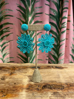Load image into Gallery viewer, Beaded Daisy Earring in Turquoise