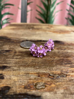 Load image into Gallery viewer, Small Cascading Floral Mini Earring in Lilac