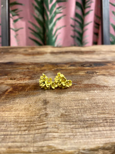 Small Cascading Floral Mini Earring in Light Yellow