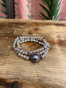 Triple Strand Beaded Bracelet in Silver Combo
