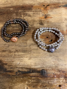 Triple Strand Beaded Bracelet in Graphite Combo