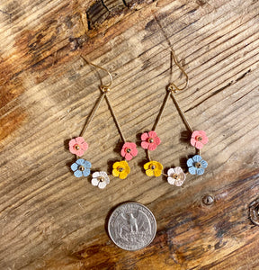 Tiny Flower Oval Hoop in Multi