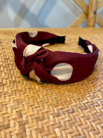 Load image into Gallery viewer, Polka Dot Headband in Burgundy/White
