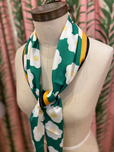 Modern Flower Print Scarf in Green Combo