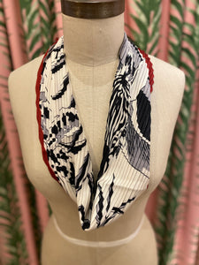 Pleated Zebra Print Scarf in Black/White Combo