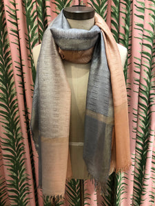 Two Tone Ombre Lurex Scarf in Pink Combo