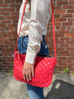 Load image into Gallery viewer, Woven Leather Crossbody Bag in Pink/Red Mix