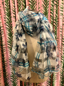 Abstract Daisy Scarf in Blue