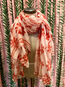 Abstract Daisy Scarf in Red