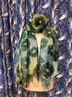 Load image into Gallery viewer, Ombre Floral Scarf in Green Combo