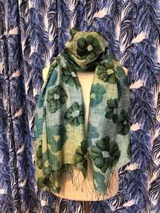 Ombre Floral Scarf in Green Combo