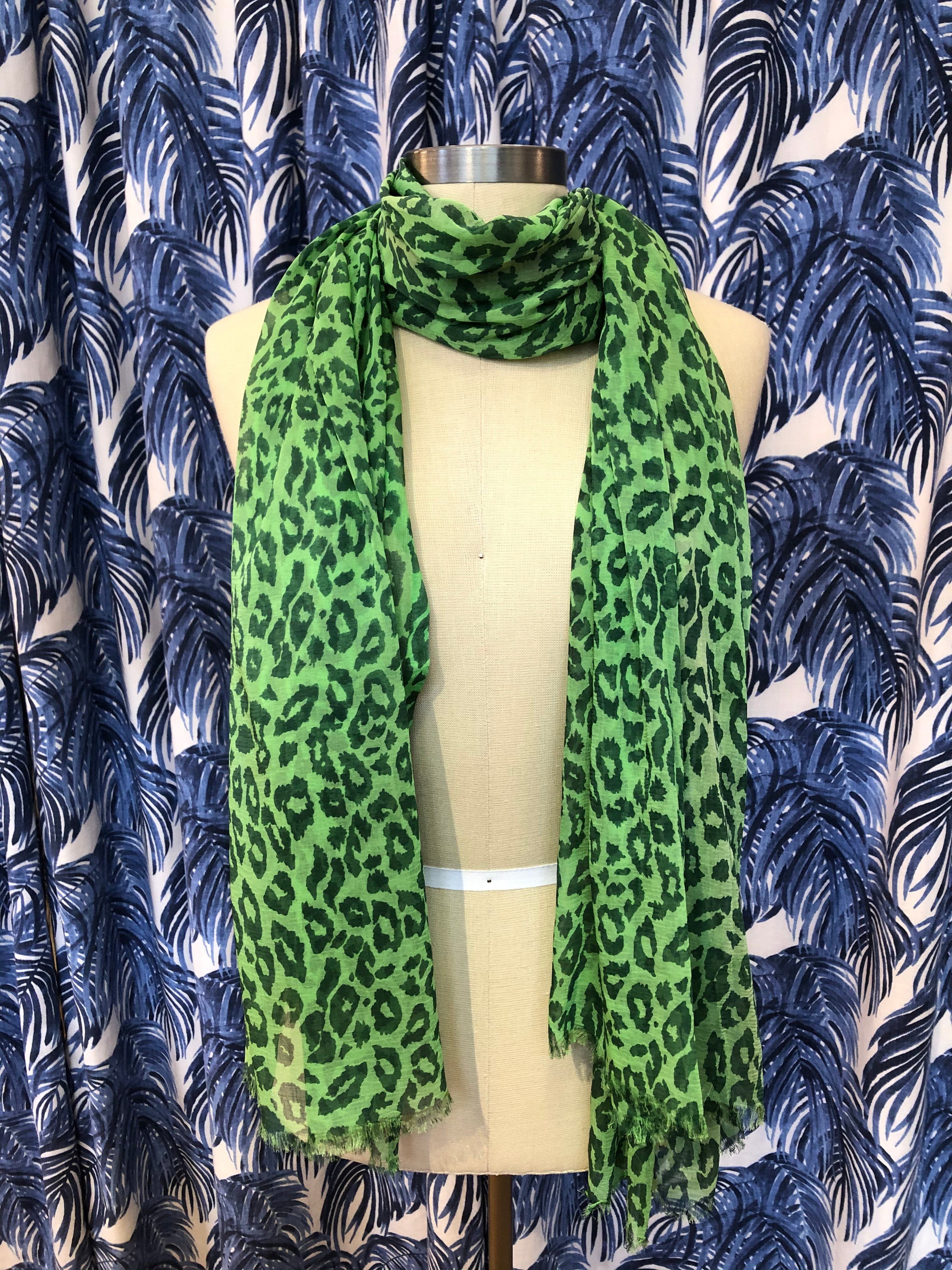 Animal Print Scarf in Green Combo