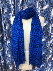 Animal Print Scarf in Cobalt Combo