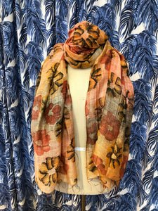 Ombre Floral Scarf in Orange Combo