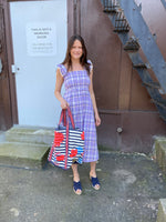 Load image into Gallery viewer, Plaid Smocked Midi Dress in Purple Combo