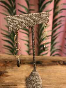 Delicate 14K Gold Fill Twisted Hoop Earrings with Pyrite