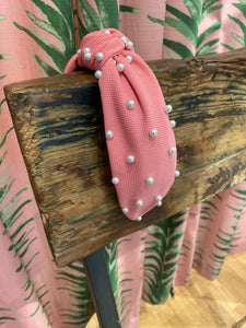 Textured Cotton Headband with Pearls in Pink