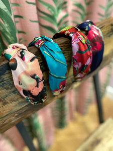 Silk Floral Headband in Pink