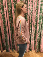 Load image into Gallery viewer, Dusty Pink Pullover With Rainbow Stripe Sleeve Detail