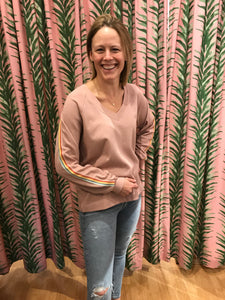 Dusty Pink Pullover With Rainbow Stripe Sleeve Detail