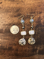 Load image into Gallery viewer, Gemstone Dangle Earrings in Gray Combo