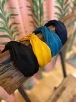 Load image into Gallery viewer, Solid Silk Knotted Headband in Navy