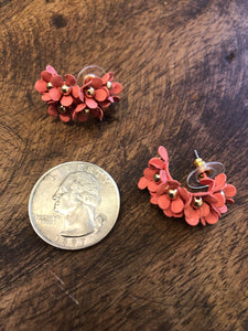 Small Cascading Floral Mini Earring in Coral