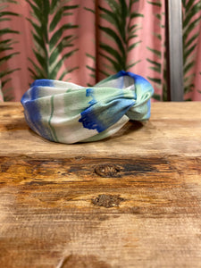 Watercolor Crossover Headband in Ocean Combo