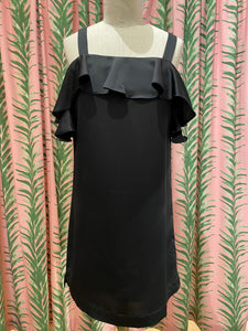 Ruffle Shoulder Dress in Black