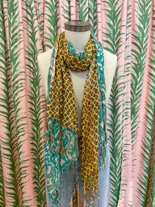 Split Diamond & Flower Print Scarf in Yellow