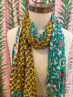 Load image into Gallery viewer, Split Diamond & Flower Print Scarf in Yellow