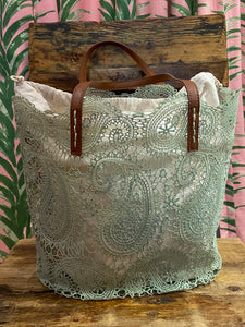 Lace Bag with Removable Liner in Mist