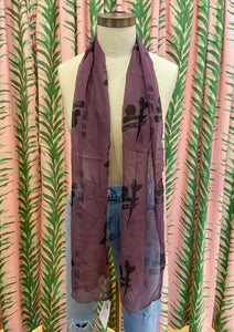 Printed Silk Scarf in Eggplant
