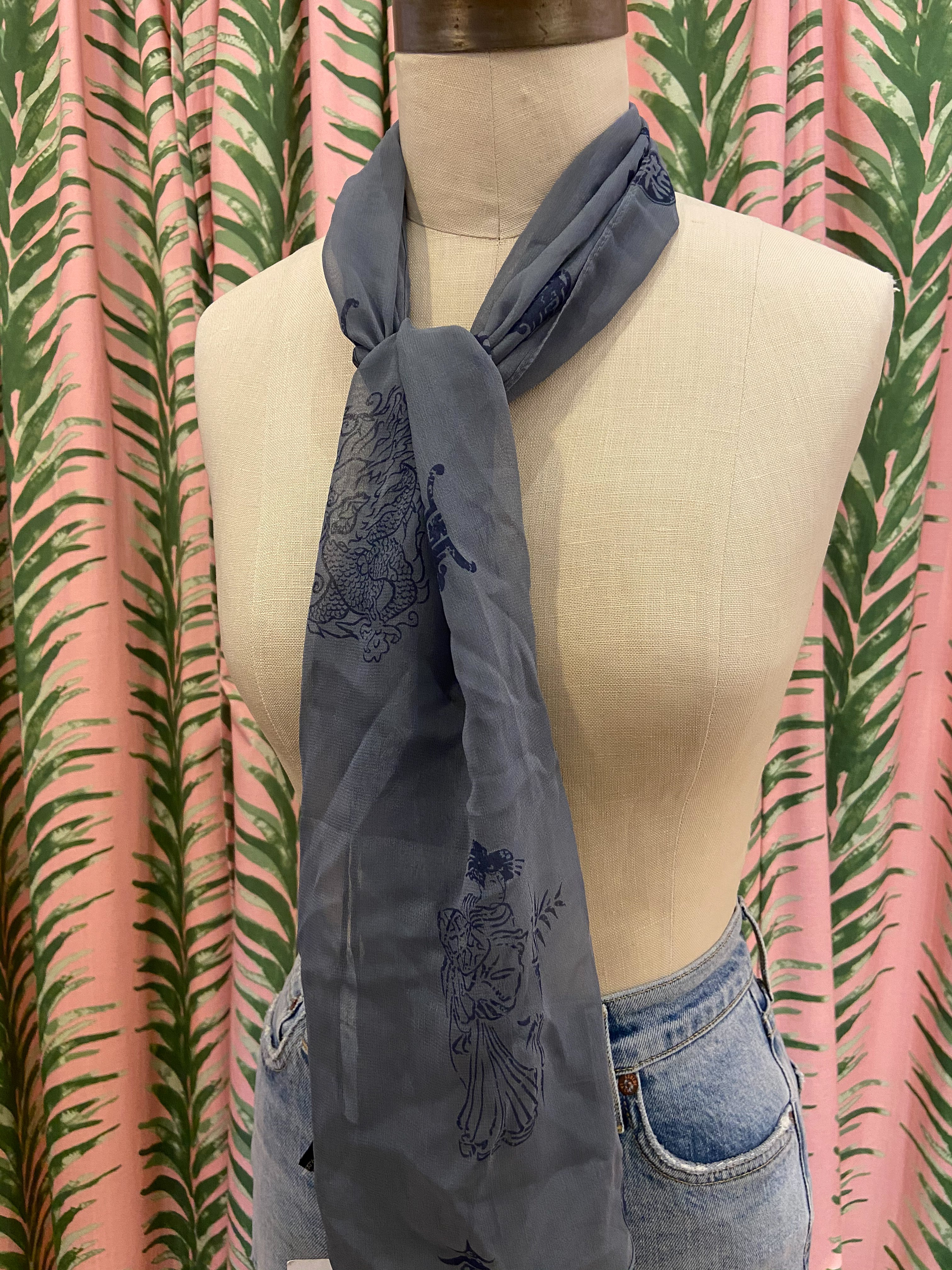Sheer Silk Scarf in Patterned Blue