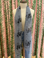 Load image into Gallery viewer, Printed Silk Scarf in Steel Blue