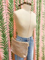 Load image into Gallery viewer, Woven Leather Crossbody Bag in Silver
