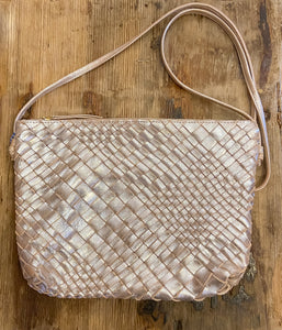 Woven Leather Crossbody Bag in Silver