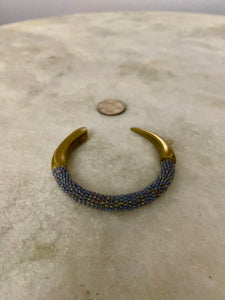 Beaded Wrapped Bronze Cuff Bracelet in Blue Multi
