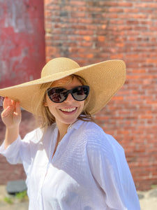 Floppy Straw Hat in Khaki