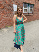 Load image into Gallery viewer, Vienna Silk Dress in Emerald Dandelion