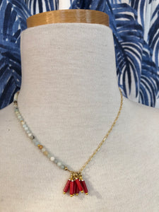 Asymmetrical Necklace in Red Coral/Gold Combo