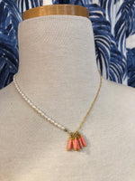 Load image into Gallery viewer, Asymmetrical Necklace in Pearl/Coral/Gold Chain Combo