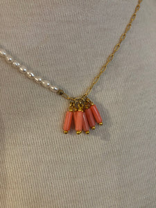 Asymmetrical Necklace in Pearl/Coral/Gold Chain Combo