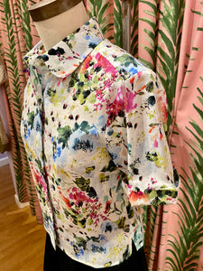 Ru Blouse in White Floral