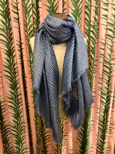Pleated Shimmer Scarf in Blue