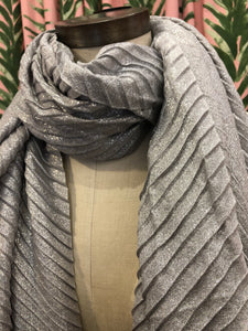Pleated Shimmer Scarf in Light Gray