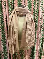 Load image into Gallery viewer, Pleated Shimmer Scarf in Pink