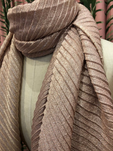 Pleated Shimmer Scarf in Pink