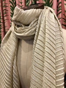 Pleated Shimmer Scarf in Ivory