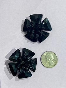 Crystal Flower Clip On Stud in Black